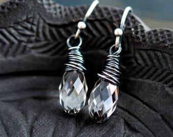 Drop Earrings, Crystal Earrings, Crystal Jewelry, Wire Wrapped, Dangle Earrings, Clear Crystal, White Crystal, Sterling Silver, PoleStar