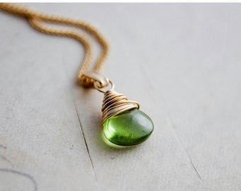 SALE, Peridot Necklace, Peridot Birthstone, August Birthstone, Gemstone Necklace Gold Jewelry, Peridot Pendant, Peridot jewelry, PoleStar