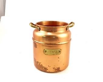 Vintage copper utensil holder jug with brass handle rustic copper decor comtsiner for kitchen