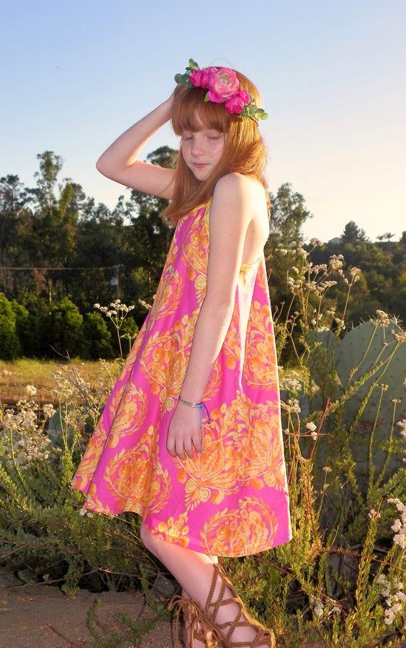 Girls Racerback Dress - Bright Pink Dress - Summer Beach Dress - Beach  Dress - Cotton Summer Dress - Boho Beach Dress - Pink Sundress