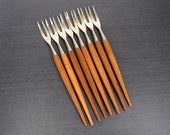 Teak and Stainless Long Fondue Forks, Set of 8, Made in Norway, Mid Century Modern