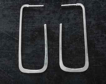 Sterling Silver Hoop Earrings, Geometric Long Rectangle, Shiny
