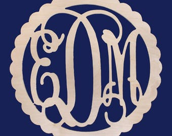 Scallop Wood Monogram--UNFINISHED wood-Paint your favorite team color