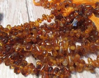 SALE 20% Off Madeira Citrine Briolette Beads Natural,  6mm 8mm 10mm Citrine Beads, Natural Gold Orange Gemstone