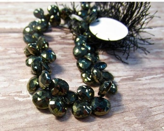 SALE 20% Off AAA Gold Mystic Black Spinel Briolette Beads, 8mm 8 1/2 Inches, Natural Gemstone