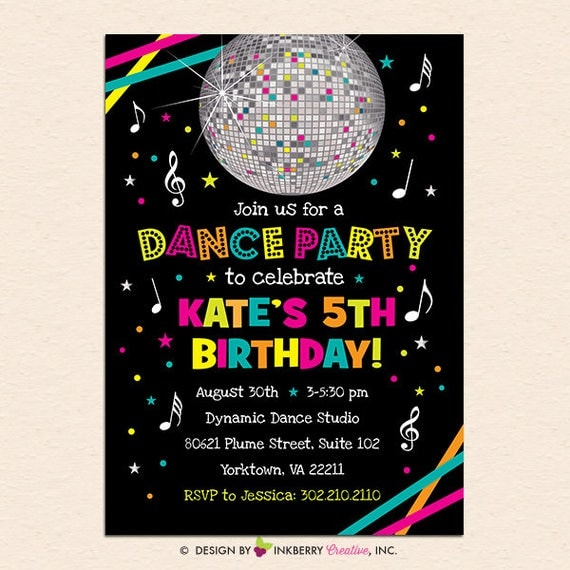 Neon Dance Party Birthday Party Invitation Digital File Printed