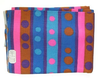 1960s Vintage Fabric / Bright Stripes and Polka Dots  in Blue Pink and Purple / By the Yard / Pillow Fabric