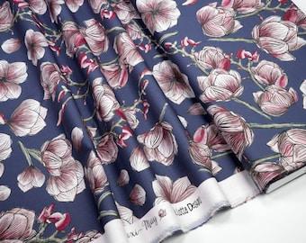 Cotton Fabric Lila Lotta Maxi-May big flowers on blue 0.54yd (0,5m) 003904