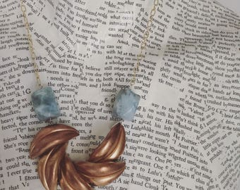 One of a kind vintage assemblage necklace with vintage brass focal and aquamarine  / OOAK