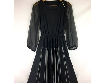 Vintage Black Dress Pleated Skirt & Sheer Sleeves