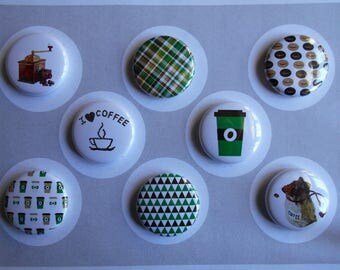 Coffee Lovers Flair Buttons, Push Pins, Magnets-YOU CHOOSE STYLE