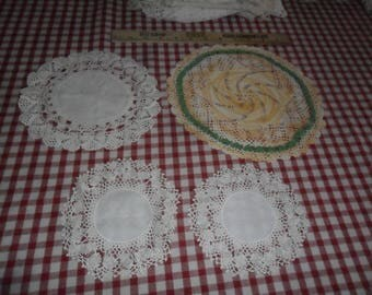 4 Vintage Hand Crocheted Cotton Doilies