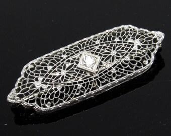 14K Gold Diamond Edwardian Brooch Filigree Antique Jewelry P8052