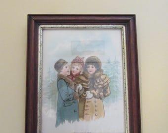 Framed old lithograph under glass- Snowballing- oak and gold trim frame