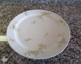 Haviland Limoges (France) round white platter with green and pink floral design-fine condition