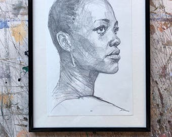 Hand drawn portrait of Lupita Nyong'o - framed