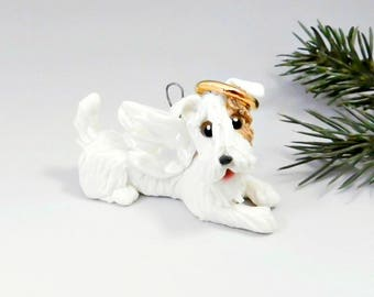 Sealyham Terrier Angel Christmas Ornament Figurine Memorial Porcelain