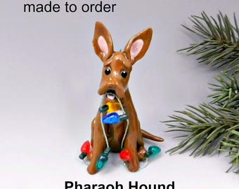 Pharaoh Hound Dog Made to Order Christmas Ornament Figurine in Porcelain
