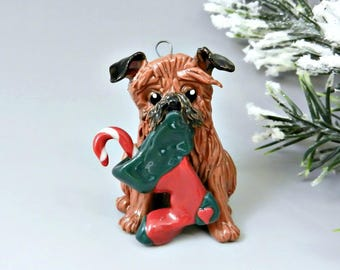 Brussels Griffon Belge Christmas Ornament Figurine with Stocking Personalized Porcelain