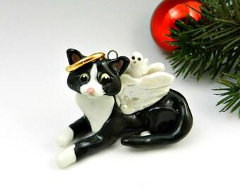 Cat Angel Black White Christmas Ornament Figurine Porcelain