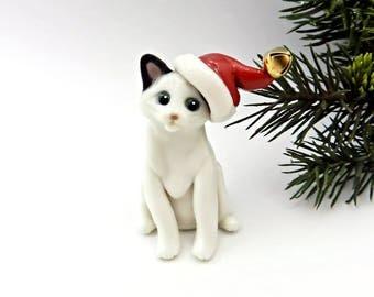 Japanese Bobtail Cat Ornament Christmas Figurine Santa Hat Porcelain