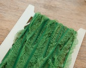 Green Lace Ruffle - 3 yards Vintage Fabric Trim New Old Stock Doll Making Holiday Christmas