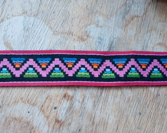 2 yards of Mod Vintage Trim -  60s 70s New Old Stock Woven Geometric Primary Rainbow Colors