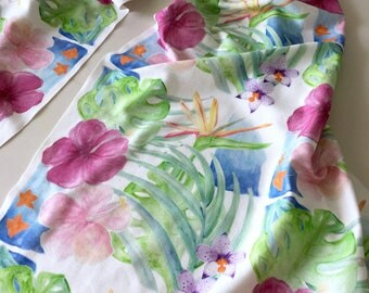 Organic cotton tropical flowers malias print scarf sarong
