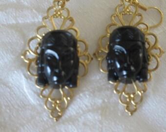 Repurposed Egyptian Revival Earrings