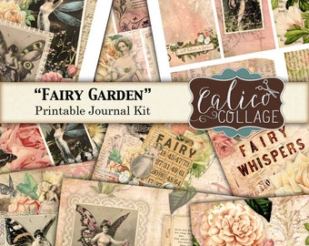 Printable, Journal Kit, Vintage Fairies, Fairy Garden, Junk Journal, Printable Journal, Ephemera Pack, Pixies, Whimsical, Digital Paper