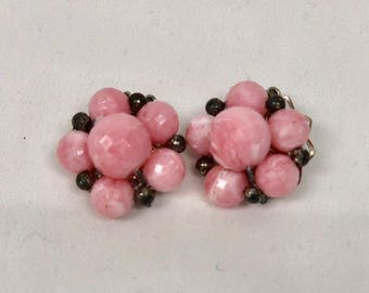 Vintage Pink Cluster Earrings with Silver Tone back clasps.