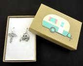 Camping Earrings. Sterling Silver Ear Wires.  RV or Camping Camper Trailer Earrings.