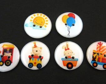 "6 Party Train Buttons.  Handmade Buttons.  Sewing Buttons.  3/4"" or 20 mm"