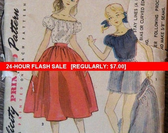 1950s Simplicity sewing pattern #3874 - Girl's size 10 - Peasant style blouse, gathered skirt and shorts.PATTERN IS COMPLETE. - Retro! Easy!