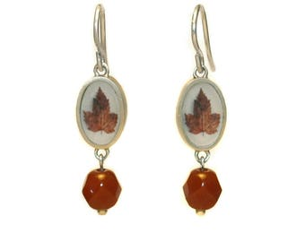 Tiny Red Leaf Photo Earrings