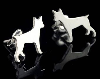 Rat Terrier Sterling Silver Silhouette Earring Studs