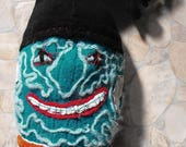 Green Pirate art rag doll made from upcycled fabric