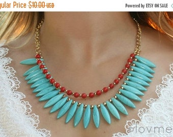 SUMMER SALE Turquoise spike necklace with coral red beads