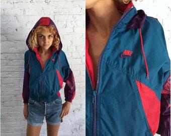 Nike red swoosh nylon jacket / vintage childrens Nike jogging jacket / hooded Nike windbreaker