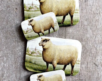 Sheep tin LARGE,  Notions tin, treasure box, jewellery box