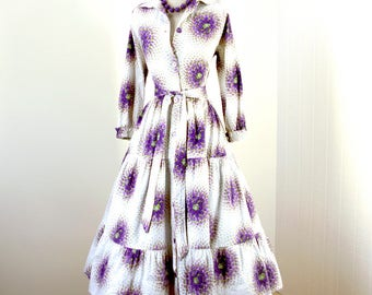 vintage 1940's dress ...lovely THORNTON VARLEY floral spray cotton full tiered skirt shirtwaist dress