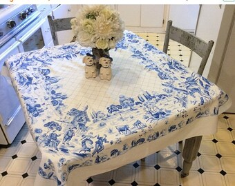 ON SALE Vintage Tablecloth Victorian Blue & White Picnic in the Park