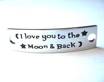 Inspirational Connector Link Plate for Making DIY Bracelets I love you to the Moon & Back Silver Color