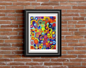 Molecules 8 x 10 wall art, print, painting, home wall decor, original art, abstract, graphic