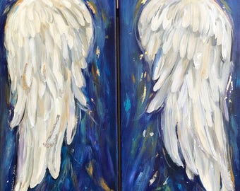 Angel Wings Painting on two Canvases