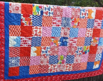 Beach House red quilt orange pink blue anchor wave buoy lobster oysters mussels summer blanket