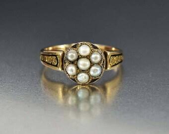 Antique Victorian Enamel Gold Pearl Ring | 10K Gold Black Enamel Pearl Cluster Mourning Ring | Memento Mori Mourning Jewelry | Memorial Ring