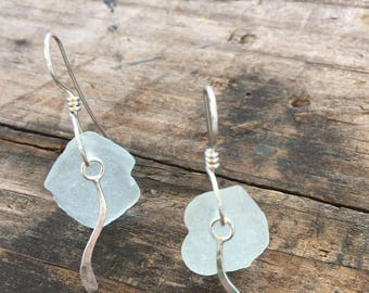 light green sea glass earrings with sterling silver swirl