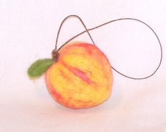 Felt Christmas - Miniature Fruit Ornament - Needle Felted Mini Peach - Christmas Ornament - Felt Fruit - Needlefelt Ornament