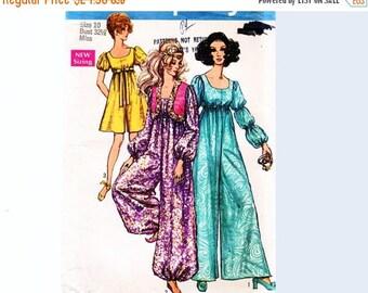 on SALE 25% Off 1960s Jumpsuit Pattern UNCUT Misses size 10, Harem Jumpsuit, Empire Waist Day or Evening Pantdress and Bolero Jacket, Boho J
